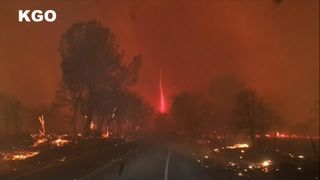 The firenado was seen in Paradise, California, the town where 27,000 residents were told to evacuate as a massive wildfire spread.
