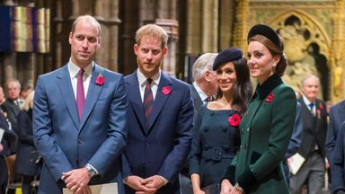 Britain's Prince William, Duke of Cambridge with Catherine, Duchess of Cambridge and Britain's Prince Harry, Duke of Sussex with Meghan, Duchess of Sussex arrive for an Armistice Service at Westminster Abbey in Westminster, London, Britain, November 11, 2018