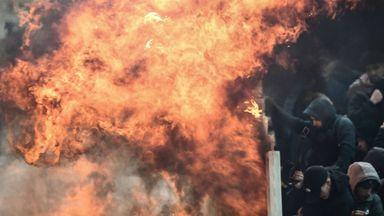 Petrol bomb thrown towards Ajax fans