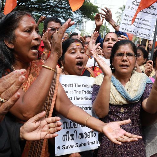 Protests over ruling to allow women in Hindu temple