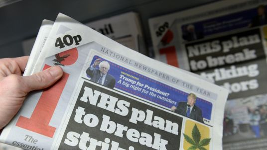 Copies of the i newspaper on sale in a newsagents, London as Regional publisher Johnston Press confirmed it is in advanced talks to buy the cut-price national daily