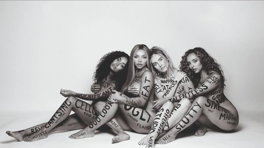 Little Mix pose naked and covered in insults to promote song Strip and album LM5. Pic: Rankin/ Little Mix