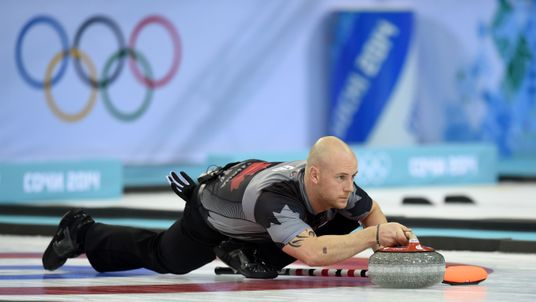 Ryan Fry in action for Canada in the Men's Curling Gold Medal Game during the 2014 Sochi Winter Olympics