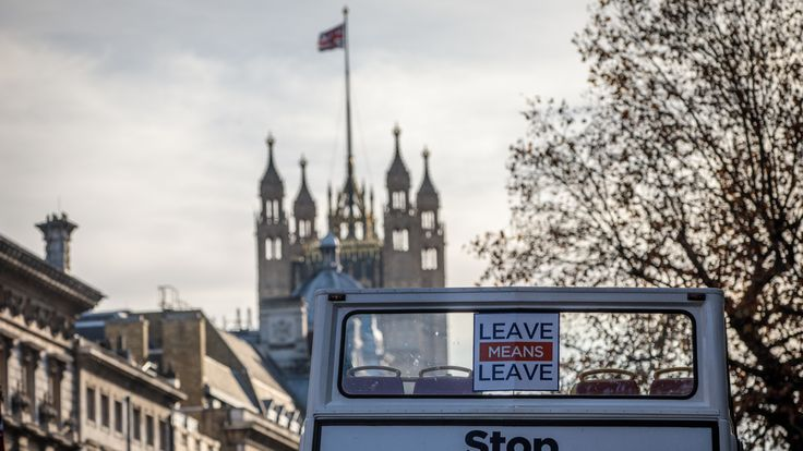 A pro-Brexit bus is driven along Whitehall on November 14, 2018 in London, England