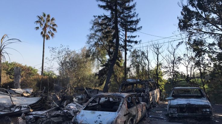 Destroyed cars in a suburb in Malibu