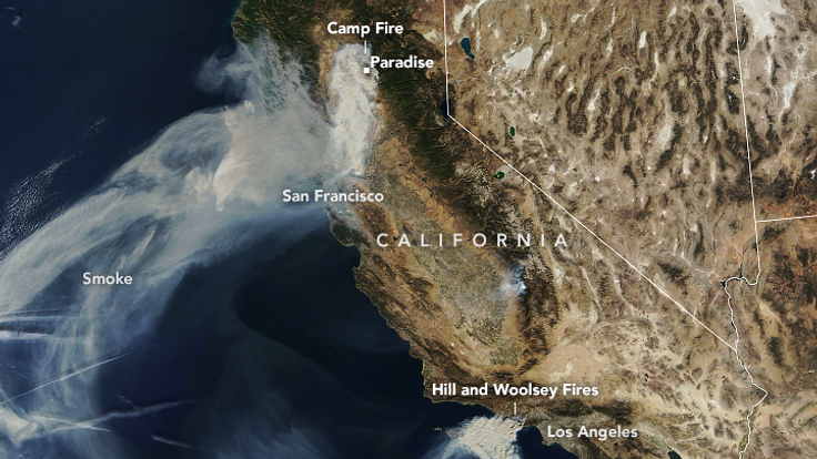 The Landsat 8 satellite caught this image of the Camp Fire. Pic: NASA