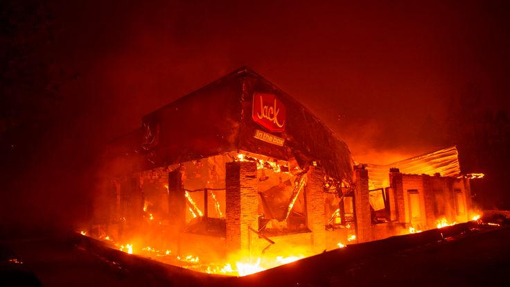 The Jack in the Box fast food restaurant goes up in flames in Paradise