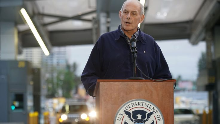 US Department of Homeland Security (DHS) Secretary John Kelly speaks to reporters during a press conference at the San Ysidro Port of Entry on Friday, February 10, 2017. Kelly met with DHS employees and state and local law enforcement officials. / AFP / Sandy Huffaker (Photo credit should read SANDY HUFFAKER/AFP/Getty Images)