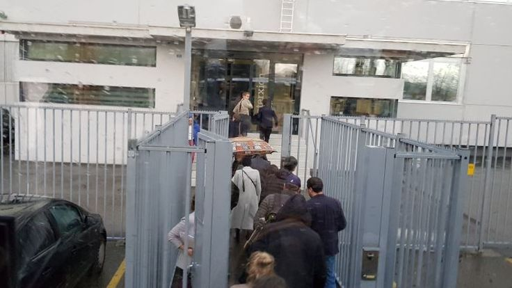 Journalists entering the Kaspersky facility in Zurich