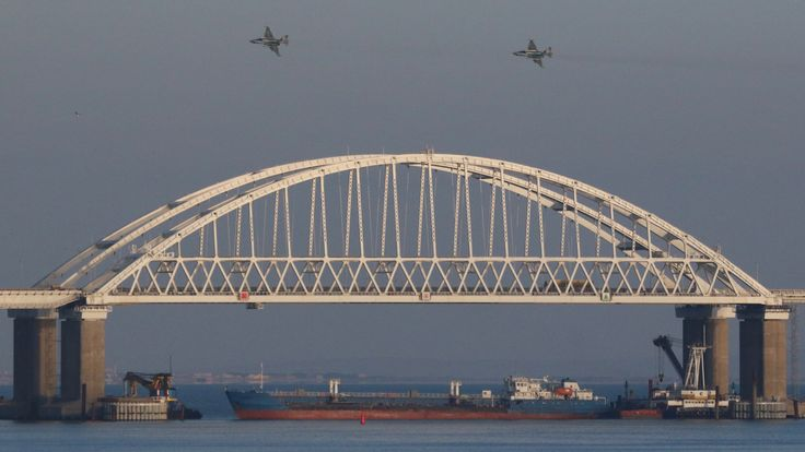 The new bridge across the Kerch Strait is barely big enough to allow some ships under it