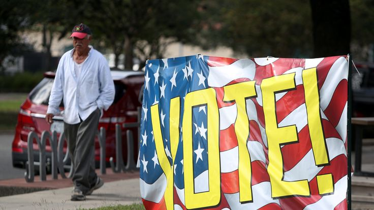 A banner urging people to vote in the midterm elections in Houston, Texas