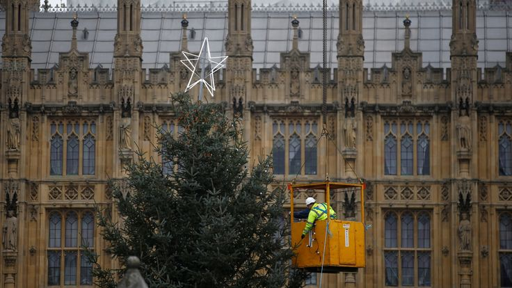 The Houses of Parliament Christmas tree is decorated be workers suspended from a crane, in central London, Britain November 24, 2018