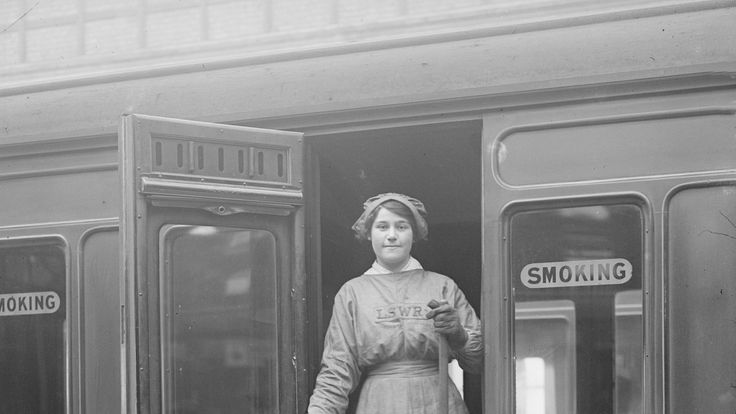 A female worker for the London and South Western Railway in 1917
