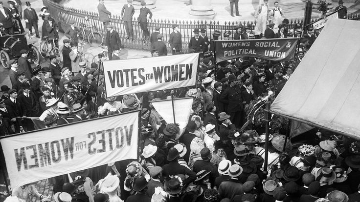 Suffragettes gather in protest outside Queen's Hall