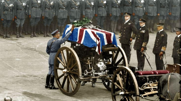 An Unknown Warrior being buried on Armistice Day. It was here, where the Cenotaph stands now, that His Majesty King George V paid his tribute