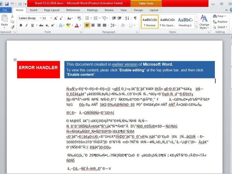 The document used scrambled text to trick victims into enabling macros. Pic: Accenture