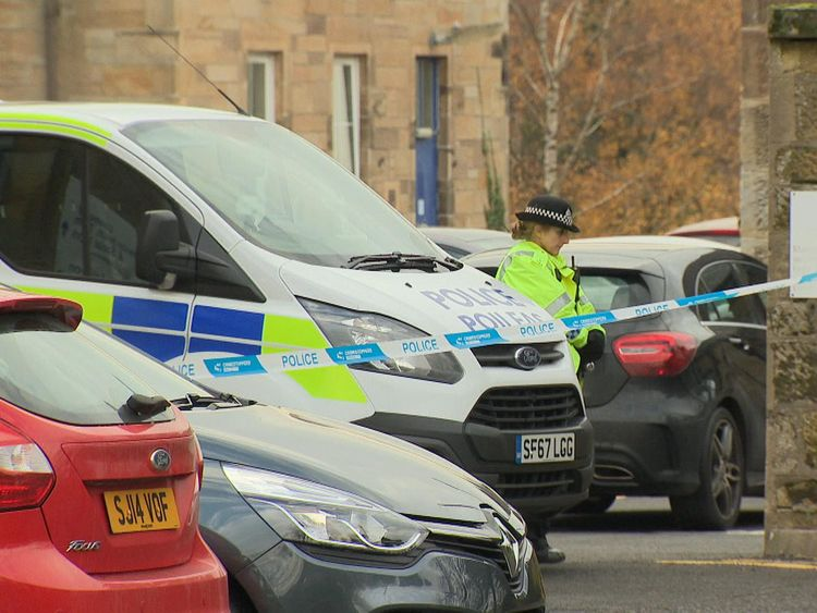 There is a heavy police presence at Ailsa Hospital