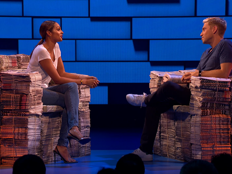 Alesha Dixon on the Russell Howard Hour show on Sky One