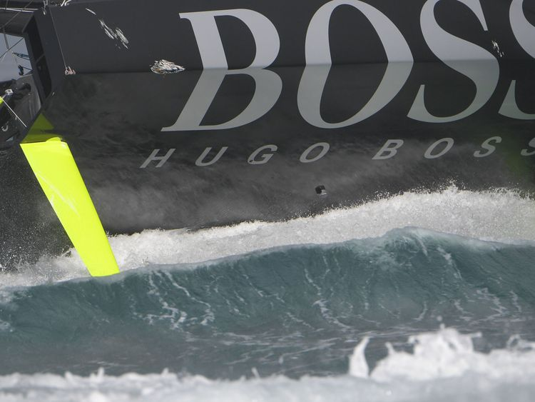 Alex Thomson's monohull was damaged after he overslept near to the finish line