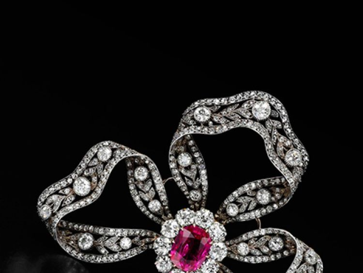 This ruby and diamond brooch from about 1900 was a gift from Archduke Freidrich of Austria
