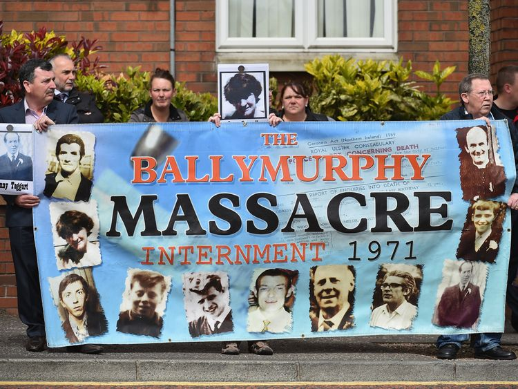 Protesters demonstrate over the Ballymurphy massacre