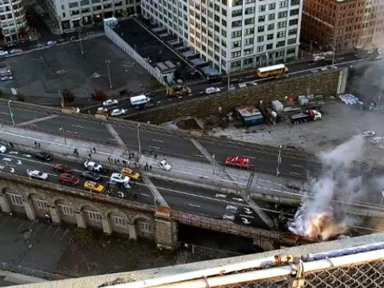 The scene of the crash on Brooklyn Bridge. Pic: NBC New York