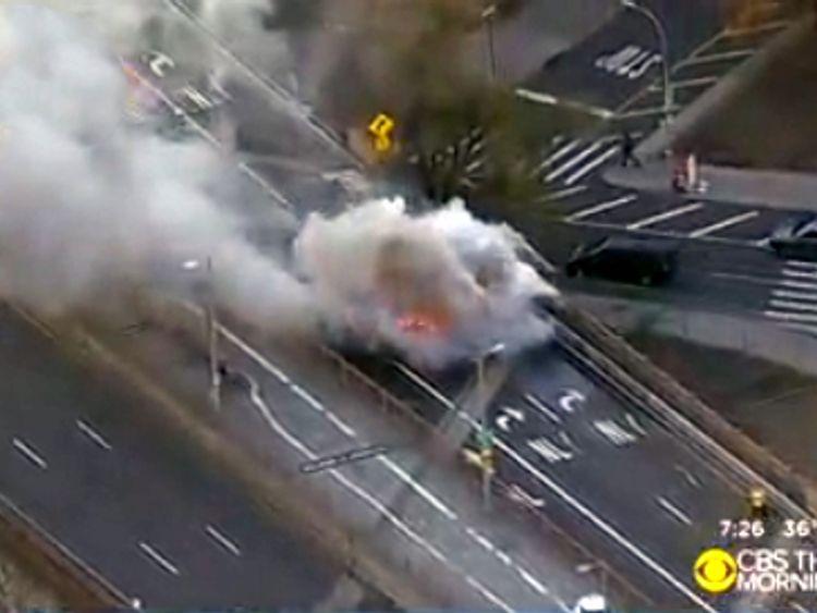 The scene of the crash on Brooklyn Bridge. Pic: CBS New York