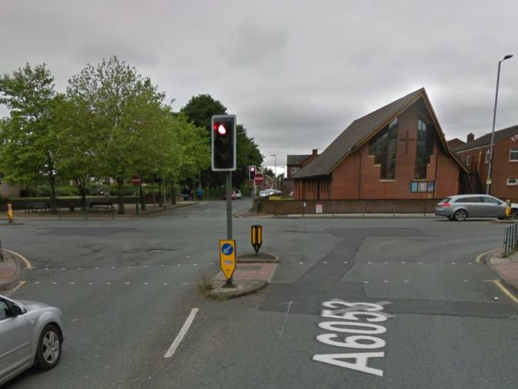 The two 11-year-olds were walking across this crossing in Bury when a person from a van tried to grab one of them. Pic: Google Streetview
