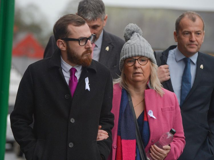 Mr Sargeant's son Jack and Carl's wife Bernadette arrive at the inquest