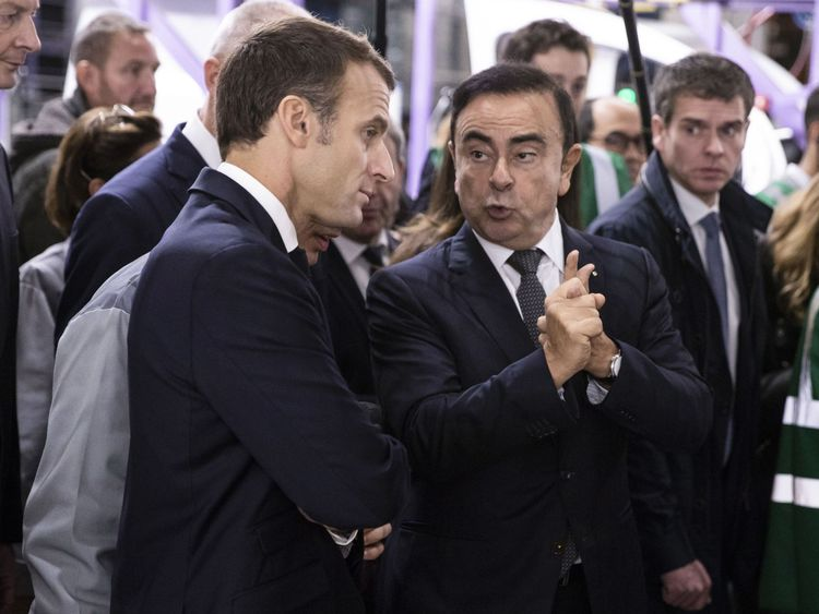 Emmanuel Macron's government, which has a major stake in Renault, has called for Nissan to hand over its evidence against Mr Ghosn (r)