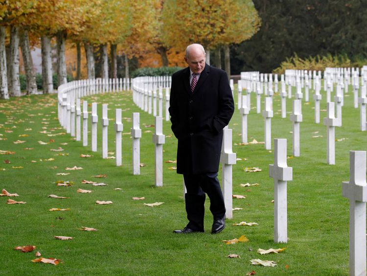 White House Chief of Staff John Kelly at the Aisne-Marne American Cemetery dedicated to the US soldiers killed in the Belleau Wood battle
