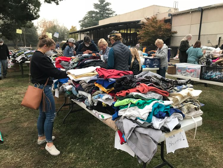 A shelter in Chico where residents can collect donated items