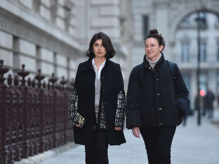 Daniela Tejada, the wife of Matthew Hedges who was jailed for life in the United Arab Emirates on an allegation of spying, arrives at the Foreign and Commonwealth Office