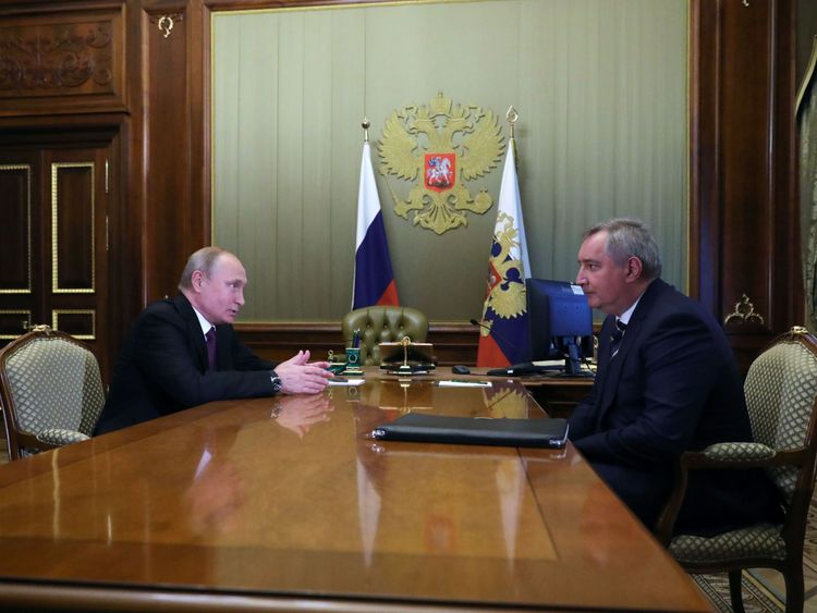 Russian President Vladimir Putin (L) meets with former deputy prime minister Dmitry Rogozin at the Konstantin Palace in Strelna, outside Saint Petersburg, on May 24, 2018. - Vladimir Putin on May 24, 2018 picked former deputy prime minister as head of the space agency Roscosmos, Russian news agencies reported. (Photo by Mikhail KLIMENTYEV / SPUTNIK / AFP) (Photo credit should read MIKHAIL KLIMENTYEV/AFP/Getty Images)