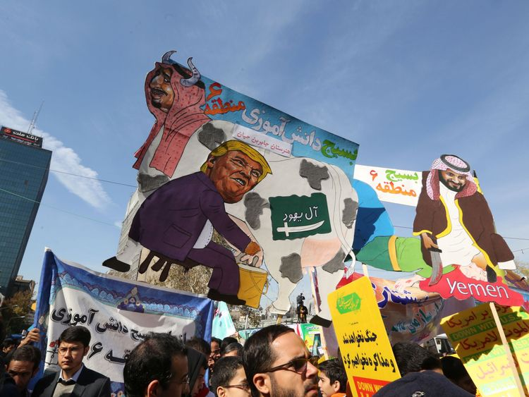 Donald Trump has been mocked in protests in Iran