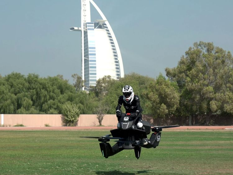 Dubai police training on flying motorbikes