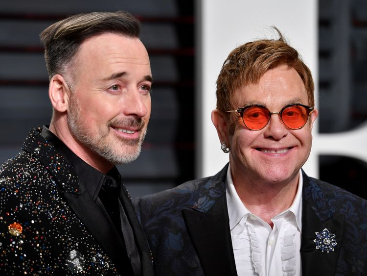 Elton John and David Furnish at the 2017 Vanity Fair Oscar Party