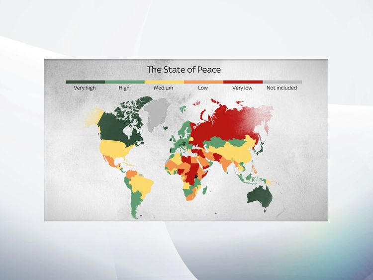 A Sky News graphic shows the state of peace across the world