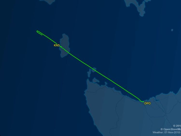 Flight data shows the plane doubling back on its path. Pic: FlightAware
