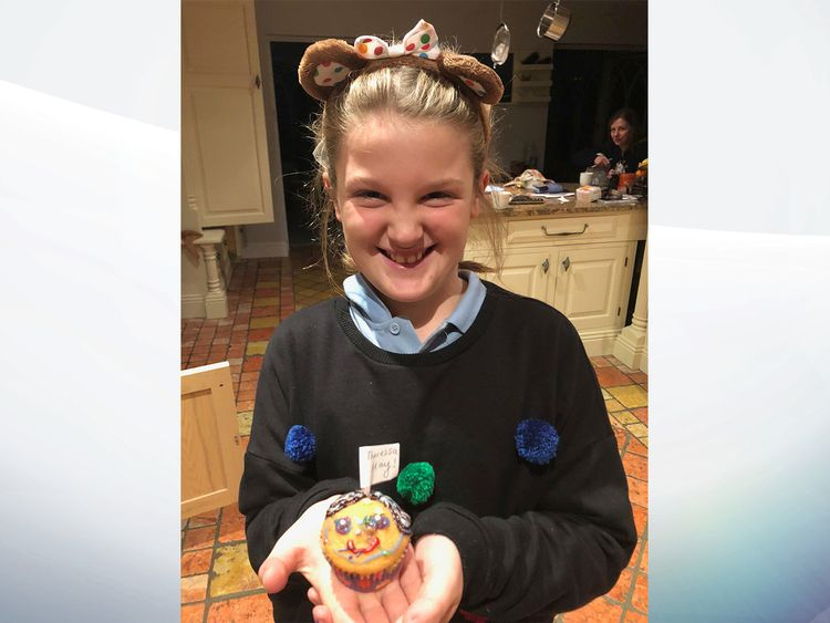Gabby Balaes, 9, with a cupcake that she baked for the prime minister