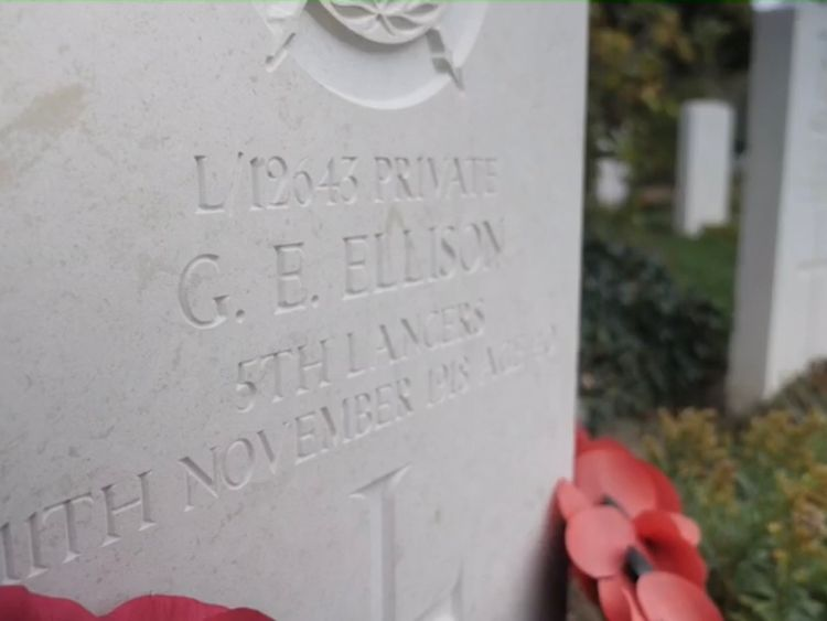 Private George Ellison was the last British soldier to be killed in  the First World War