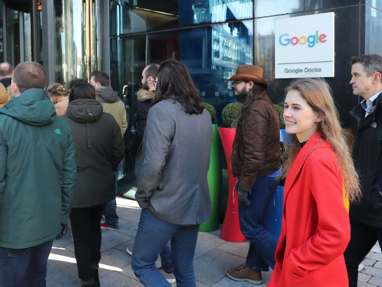 Google employees at its European headquarters in Dublin, Ireland, join others from around the world walking out of their offices in protest over claims of sexual harassment, gender inequality and systemic racism at the tech giant
