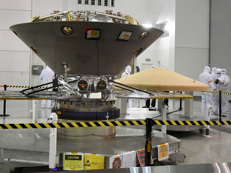 NASA's InSight spacecraft, destined for the Elysium Planitia region located in Mars' northern hemisphere, undergoes final preparations at Vandenberg Air Force Base, California, U.S., April 6, 2018
