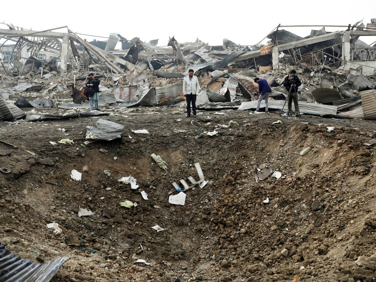 The site of a car bomb attack in Kabul, Afghanistan