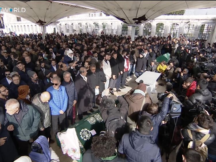 Hundreds of people turned out to say prayers to the slain journalist