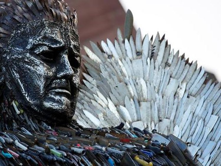 The statue is made up of 100,000 confiscated knives