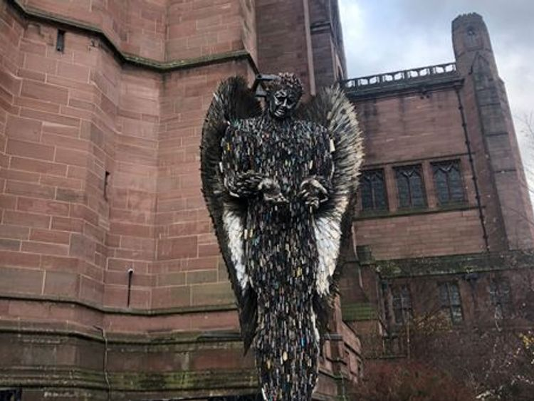 The sculpture standing outside the cathedral. Pic: British Ironwork Centre