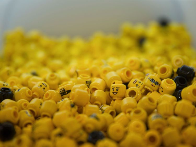 LEGO heads are pictured on display during the official opening of the new LEGO store in Leicester Square, central London in November 17, 2016. Billed as the world's largest LEGO store by the company, the new UK flagship store was officially opened on November 17 in Leicester Square. / AFP / Daniel LEAL-OLIVAS (Photo credit should read DANIEL LEAL-OLIVAS/AFP/Getty Images)