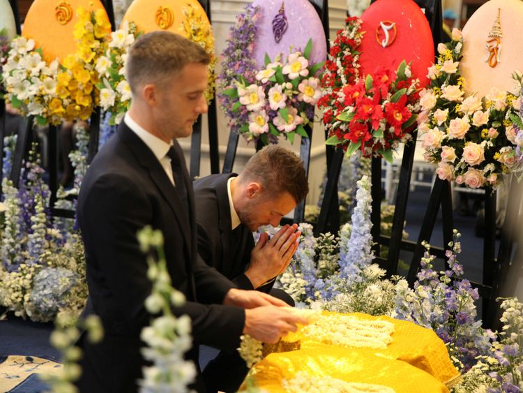 Jamie Vardy was among those who attended the funeral ceremony in Bangkok