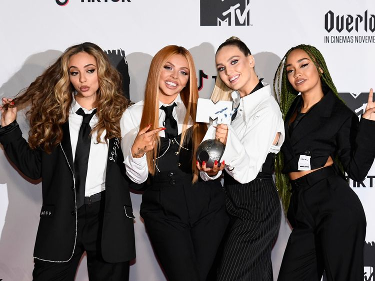 Little Mix pose in the winners room during the MTV EMAs 2018 at Bilbao Exhibition Centre on November 4 2018